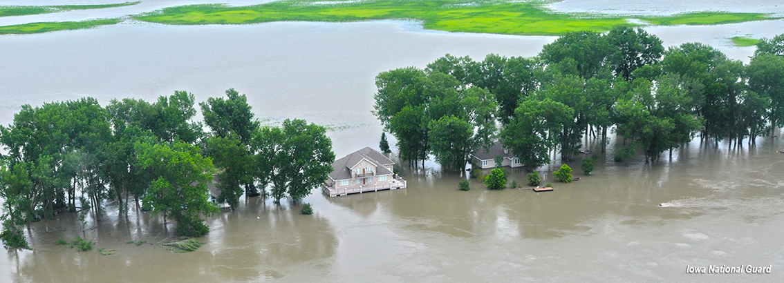 Photo of homes flooded by the Missouri River in 2011. Courtesy Iowa National Guard.